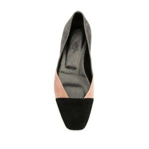 Hermes Panelled Ballerina Square Toe Suede Shoes